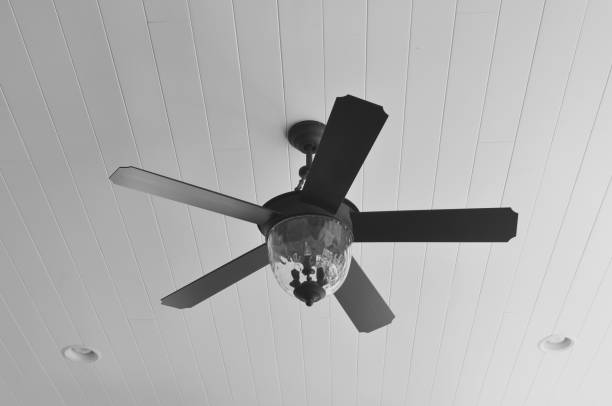 Ceiling Fan on Porch Black ceiling fan on porch. ceiling fan stock pictures, royalty-free photos & images