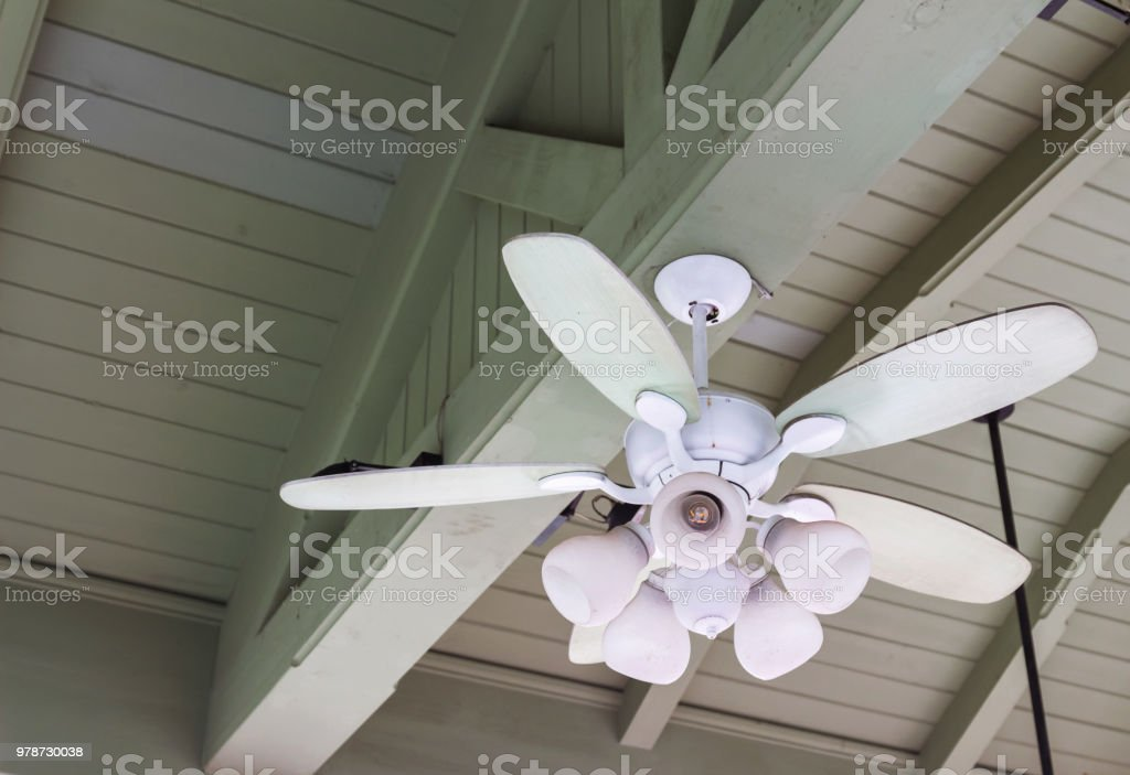 Ceiling Fan With Wooden Ceiling Lamp Vintage Style Stock Photo Download Image Now Istock