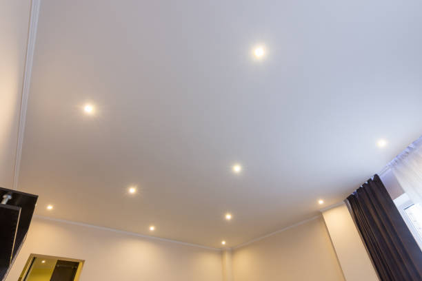 Ceiling in the hall, lighting is on Ceiling in the hall, lighting is on plaster ceiling design stock pictures, royalty-free photos & images