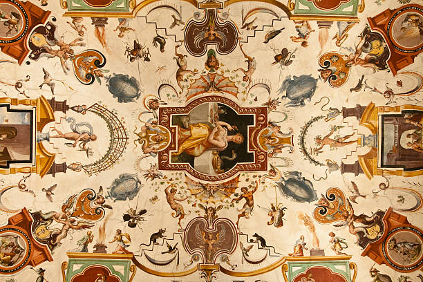 Ceiling in the Uffizi Museum stock photo