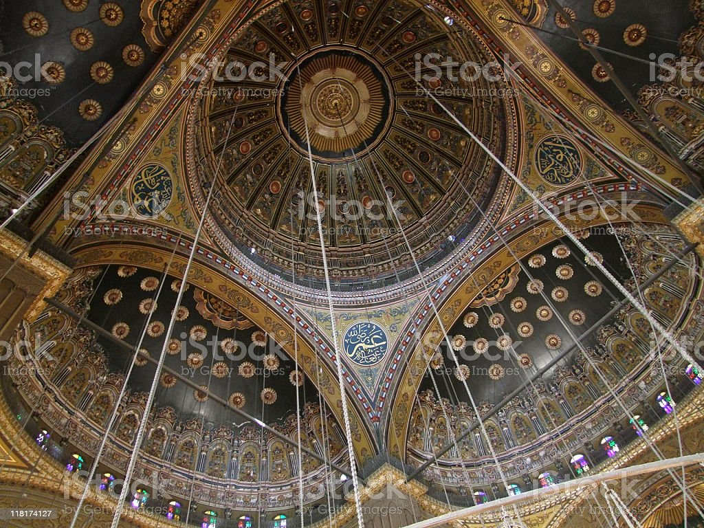 ceiling inside Mosque of Muhammad Ali stock photo