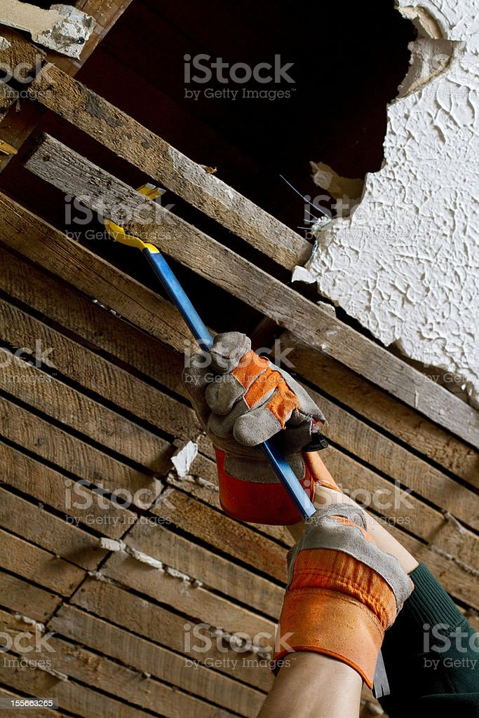 Ceiling Lathe Boards stock photo