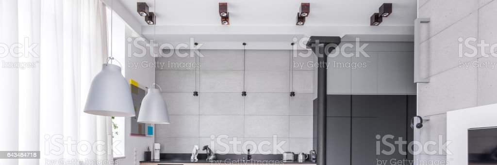 Ceiling light in modern apartment stock photo