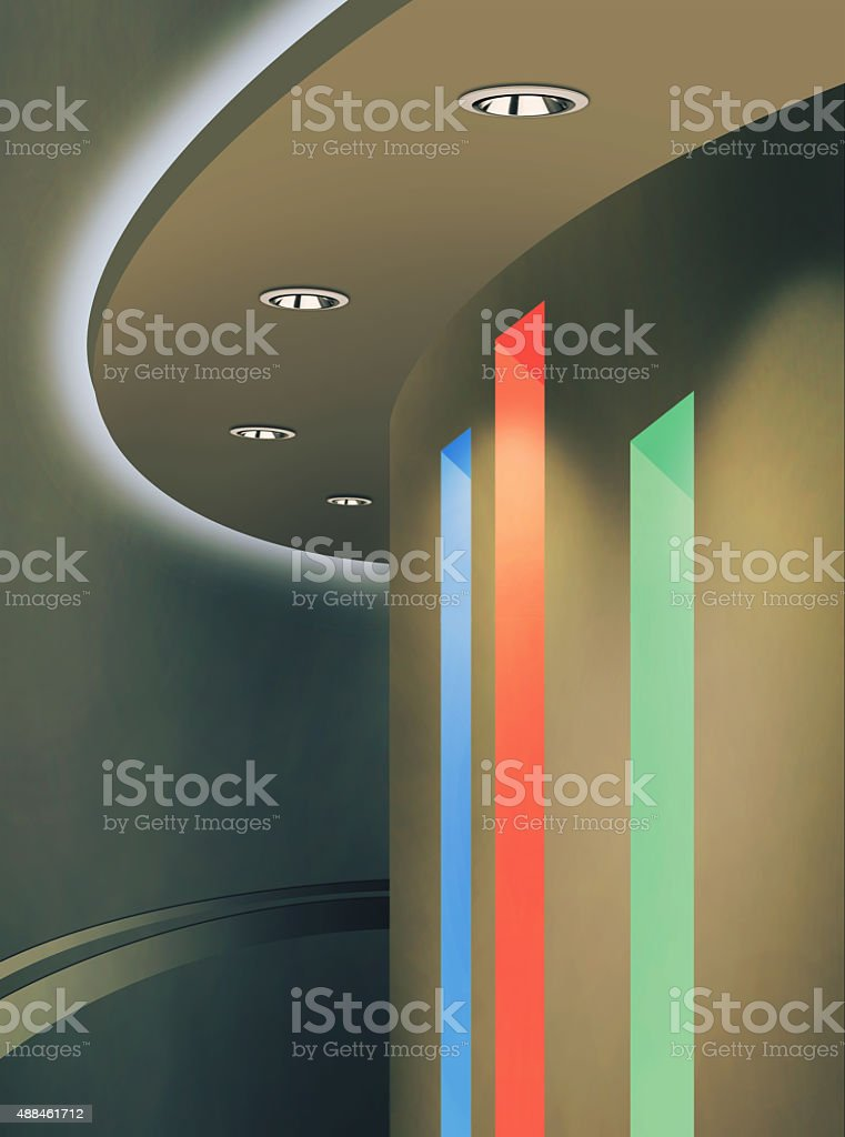 Ceiling Lighting Using Downlight and LED RGB Color stock photo