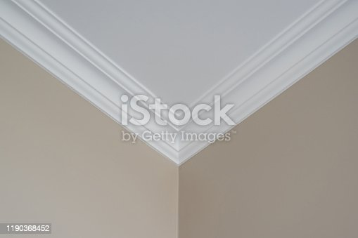 Ceiling moldings in the interior, detail of corner