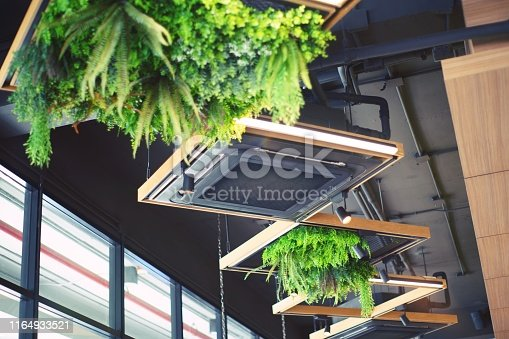 1132163701 istock photo ceiling mounted cassette type air conditioner for large rooms, exhibition room, Modern cafe 1164933521