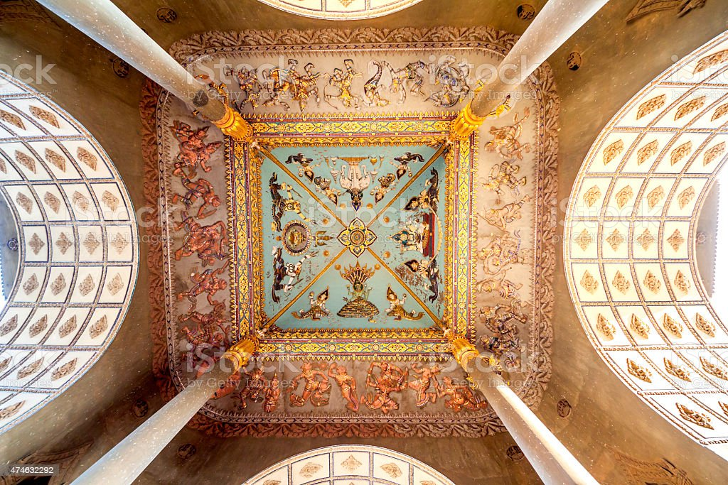 Ceiling Mural of Patuxai arch monument stock photo