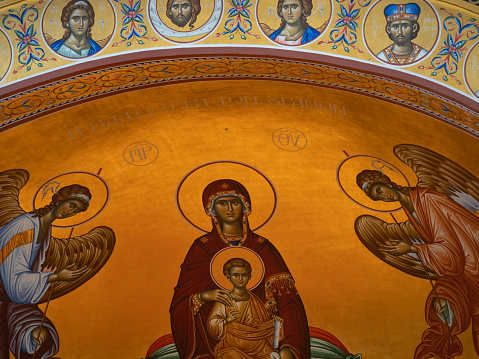 Ceiling Mural with Angels and the Virgin Mary Holding Jesus Christ as a Child