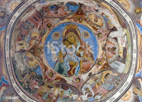 istock Ceiling of a bulgarian monastery 172264607