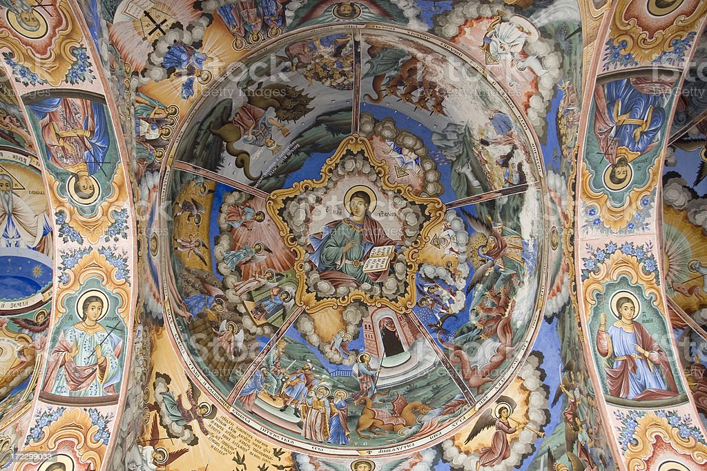 Ceiling of a bulgarian monastery stock photo