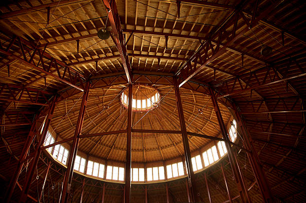 ceiling of a train roundhouse stock photo