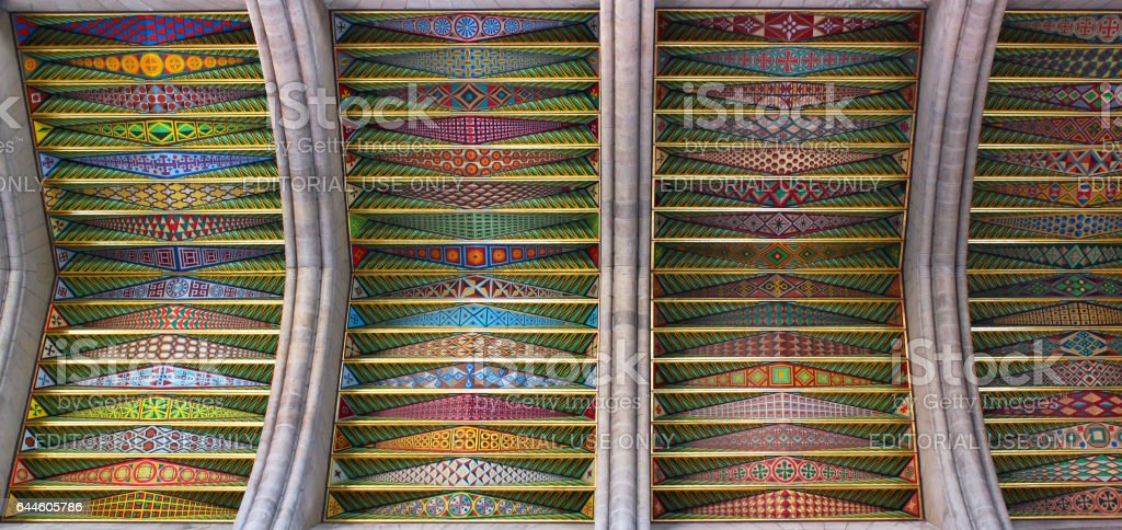 Ceiling of Almuden Cathedral in Madrid, Spain stock photo