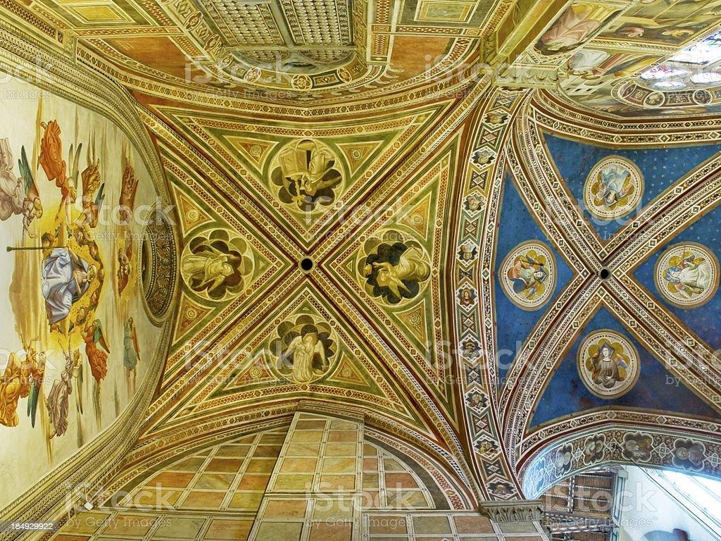 Ceiling of Baroncelli Chapel in Basilica di Santa royalty-free stock photo