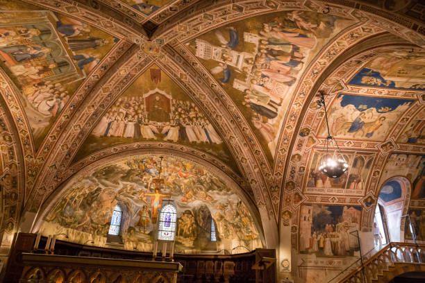 Ceiling Of Basilica Of St.Francis of Assisi- Italy Ceiling Of Basilica of Saint Francis of Assisi - Assisi, Province of Perugia, Umbria Region, Italy, Europe basilica stock pictures, royalty-free photos & images