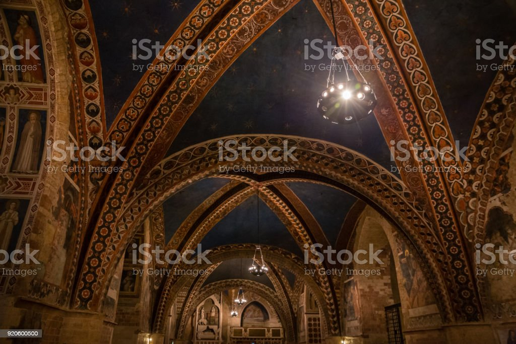 Ceiling Of Basilica Of St.Francis of Assisi- Italy stock photo