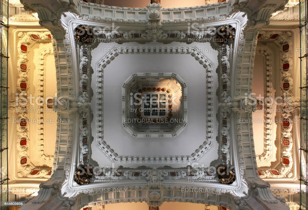 Ceiling of Cybele Palace in Madrid, Spain stock photo