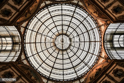 Ceiling of Galleria Vittorio Emanuele II. Built in 1875 this gallery is one of the most popular shopping areas in Milan.
