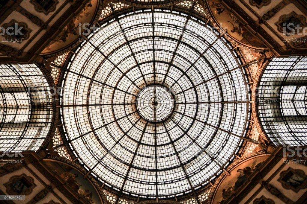 Ceiling of Galleria Vittorio Emanuele II stock photo