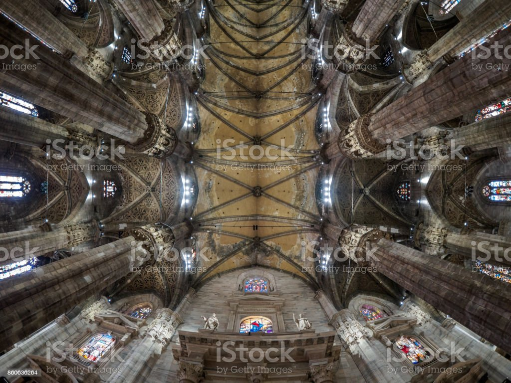 Ceiling of Milan Cathedral stock photo