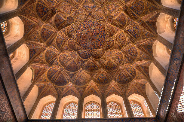 Ceiling of Music room in Ali Qapu Palace, Esfahan, Iran stock photo