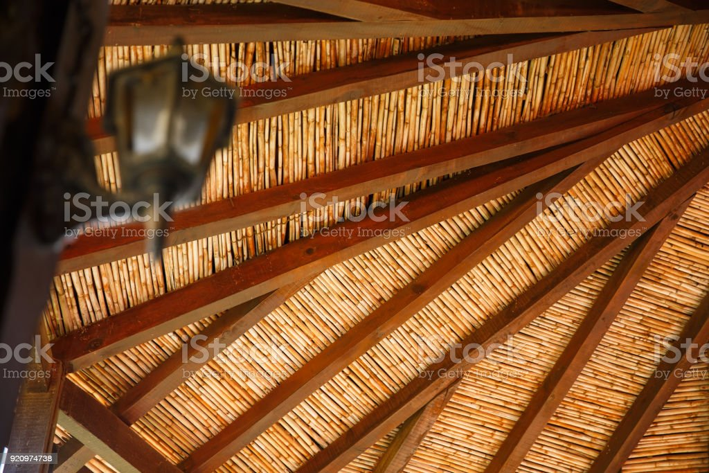 Ceiling of old building stock photo
