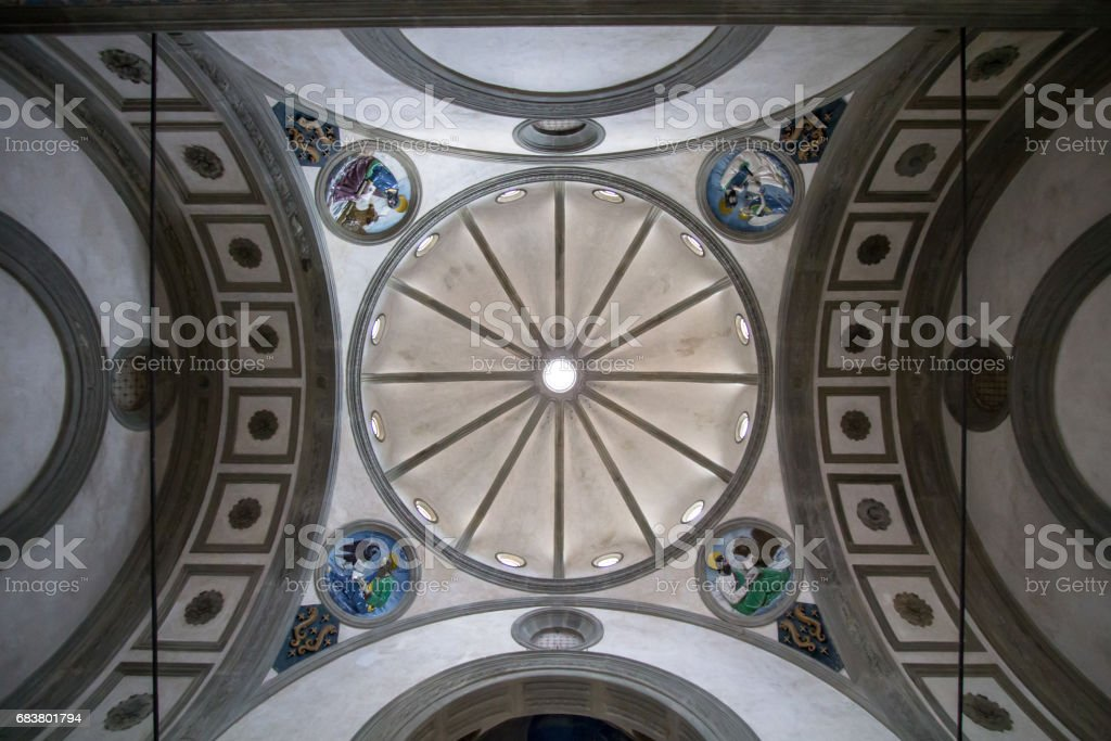 Ceiling of the Basilica di Santa Croce in Florence stock photo