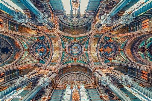 nside the Basilica of Notre-Dame de Fourviere in Lyon, France