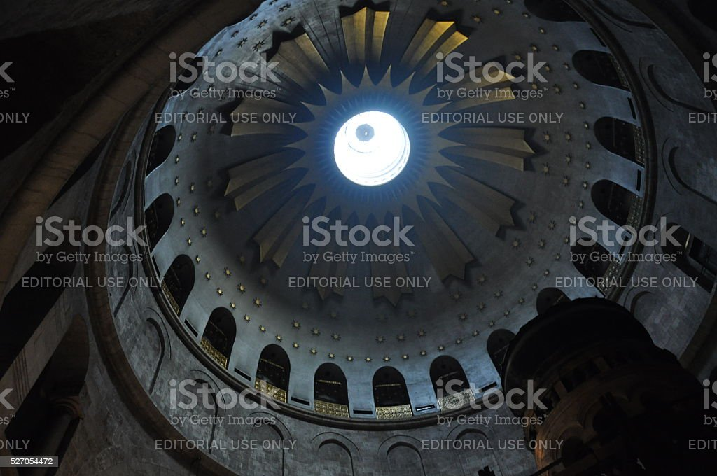 Ceiling of the Church of the Holy Sepulchre stock photo