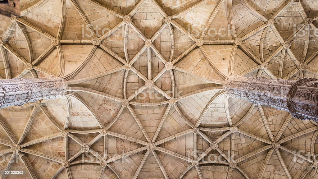 Ceiling of the Hieronymus monastery, a popular place for tourits stock photo