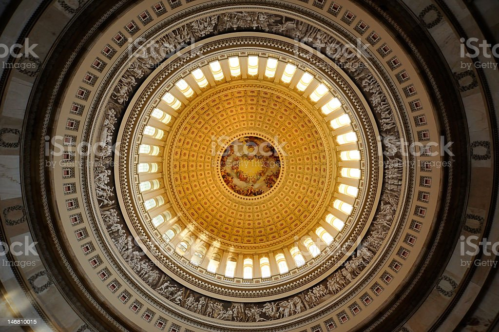 Ceiling of US Capital Rotunda in Washington DC  stock photo