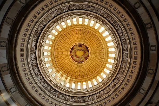ceiling of us capital rotunda in washington dc  - kubbe stok fotoğraflar ve resimler