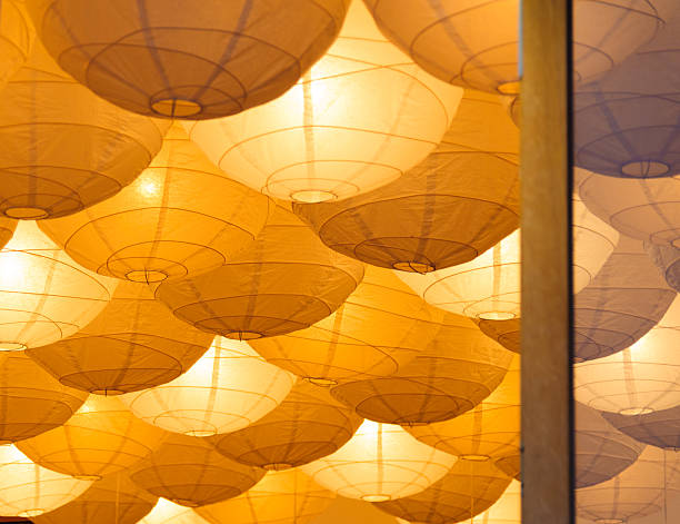 Ceiling paper lanterns stock photo