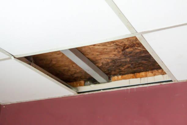 decke-reparatur nach einem hochwasser. ein teil der decke wird entfernt. ersatz von der decke. in den büroräumen zu reparieren. - dachformen stock-fotos und bilder