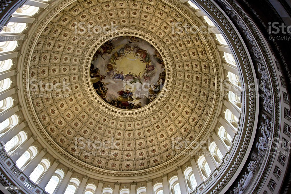 Ceiling rotunda of the Capital Building dome in Washington DC stock photo