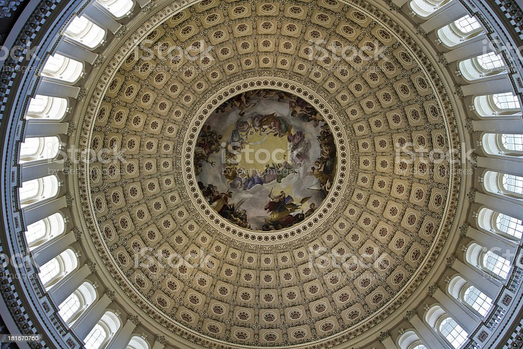 Ceiling rotunda of the Capital Building dome in Washington DC royalty-free stock photo