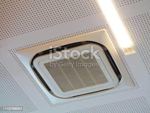 1132163701istockphoto Ceiling type hanging air conditioner unit 1143299054