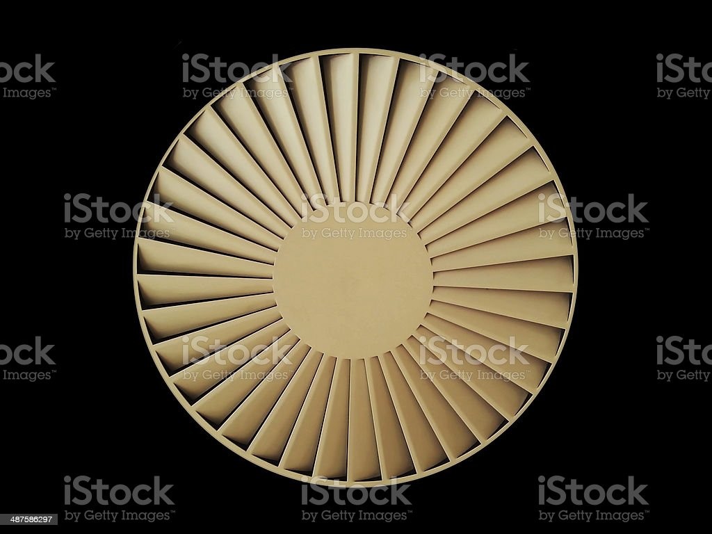 Ceiling ventilation circular fan isolated stock photo