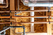 istock Ceiling with multiple utility lines - gas, electrical, water, internet, and sewer 1272276339