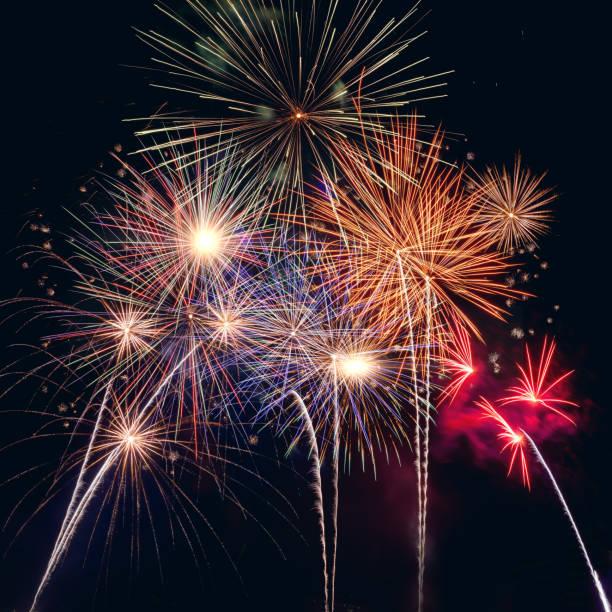 Celabration festive new year firework headline or bannner. stock photo