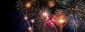 Celabration festive new year firework headline or bannner.