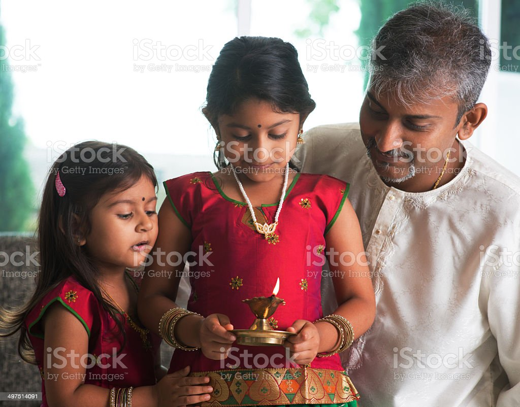 Celebrate diwali or deepavali at home stock photo