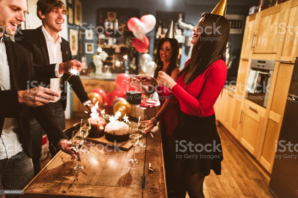 celebrate the christmas and new year  at home stock photo