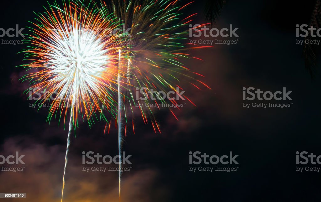 Celebrate with fireworks on New Year's Day stock photo