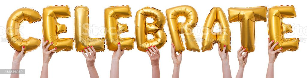 Celebrate word made from gold balloons stock photo