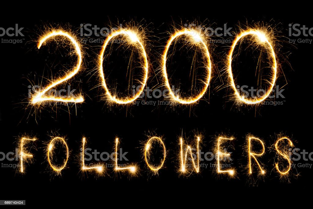 Celebrating 2000 Followers stock photo