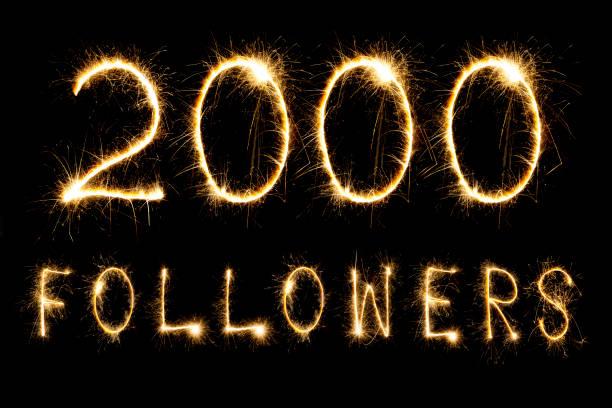 Celebrating 2000 Followers stock photo