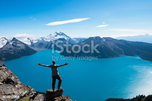 istock Celebrating a personal victory in stunning nature 504912968