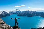 Man celebrating a personal victory by raising his arms at a pristine glacial alpine lake flanked by mountains in the distance.  This photo represents spirituality, religion, victory, triumph, connection, teamwork, inspiration, success, aspirations, conquering adversity, authenticity, winning and several other concepts.