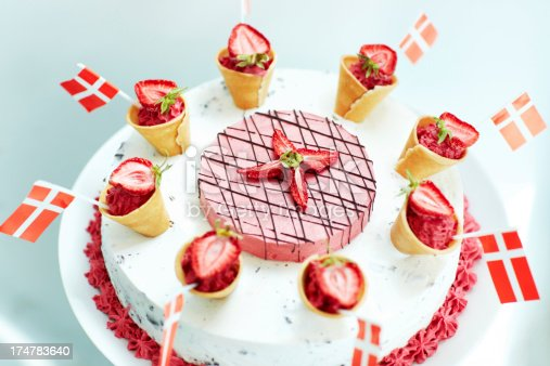 Delicious ice cream cake themed according to the Danish flag