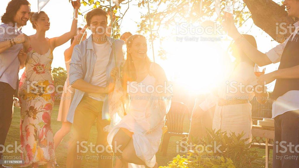 Celebrating at a Wedding Reception stock photo